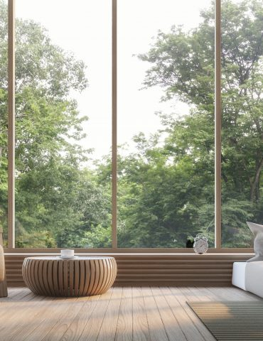 Modern bedroom with nature view 3d rendering Image