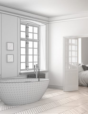 Unfinished project of minimalist white bathroom with bedroom in the background, sketch abstract interior design
